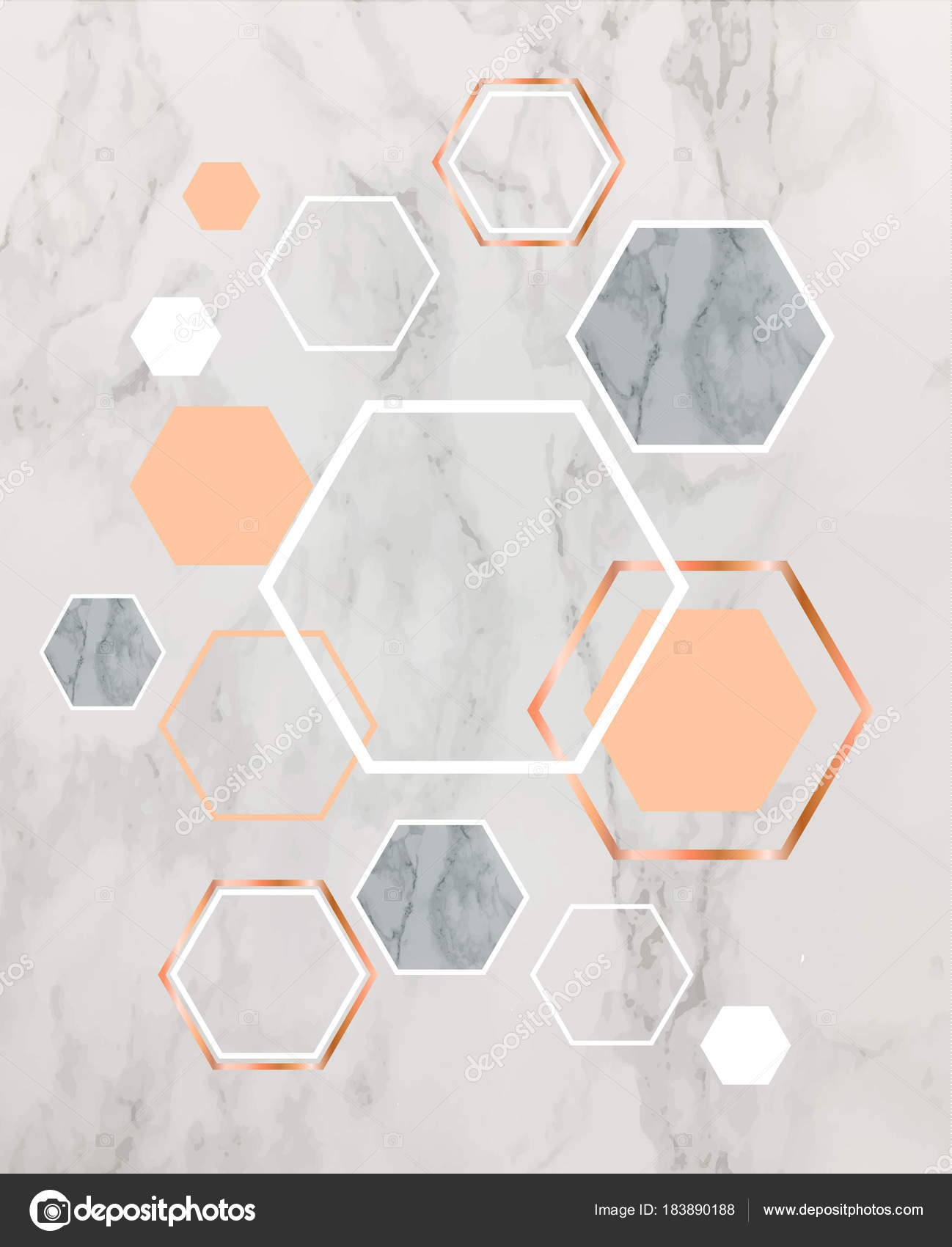 Marble Background With Rose Gold Hexagons Geometric Print For Y