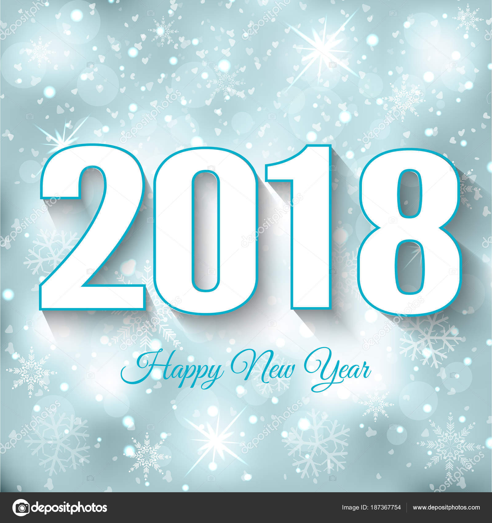 happy new year 2018 abstract design winter background with snow stock vector