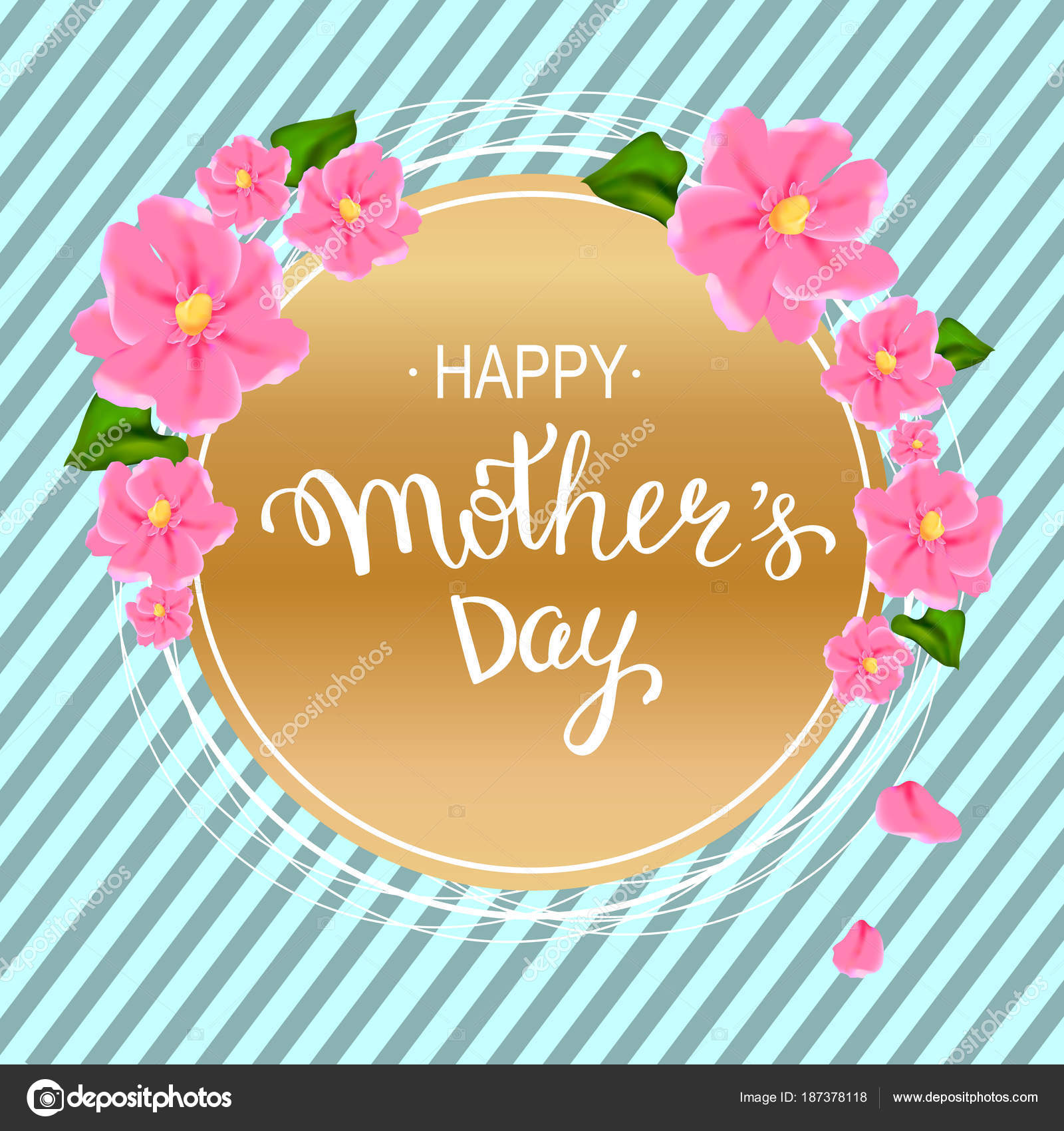 Happy mothers day layout design with pink flowers hand letteri happy mothers day layout design with pink flowers hand lettering striped background vector illustration cute feminine design for menu flyer card mightylinksfo