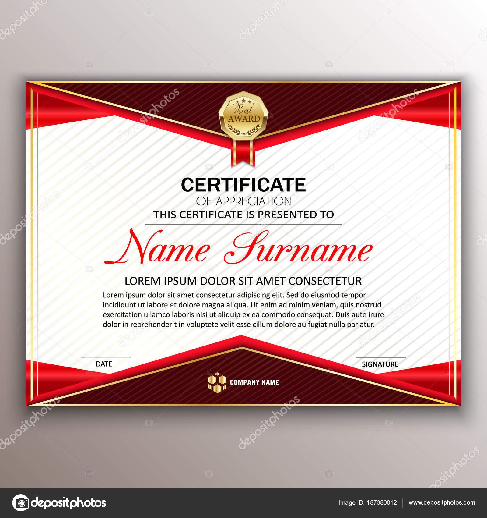 Beautiful Certificate Template Design With Best Award Symbol Ve