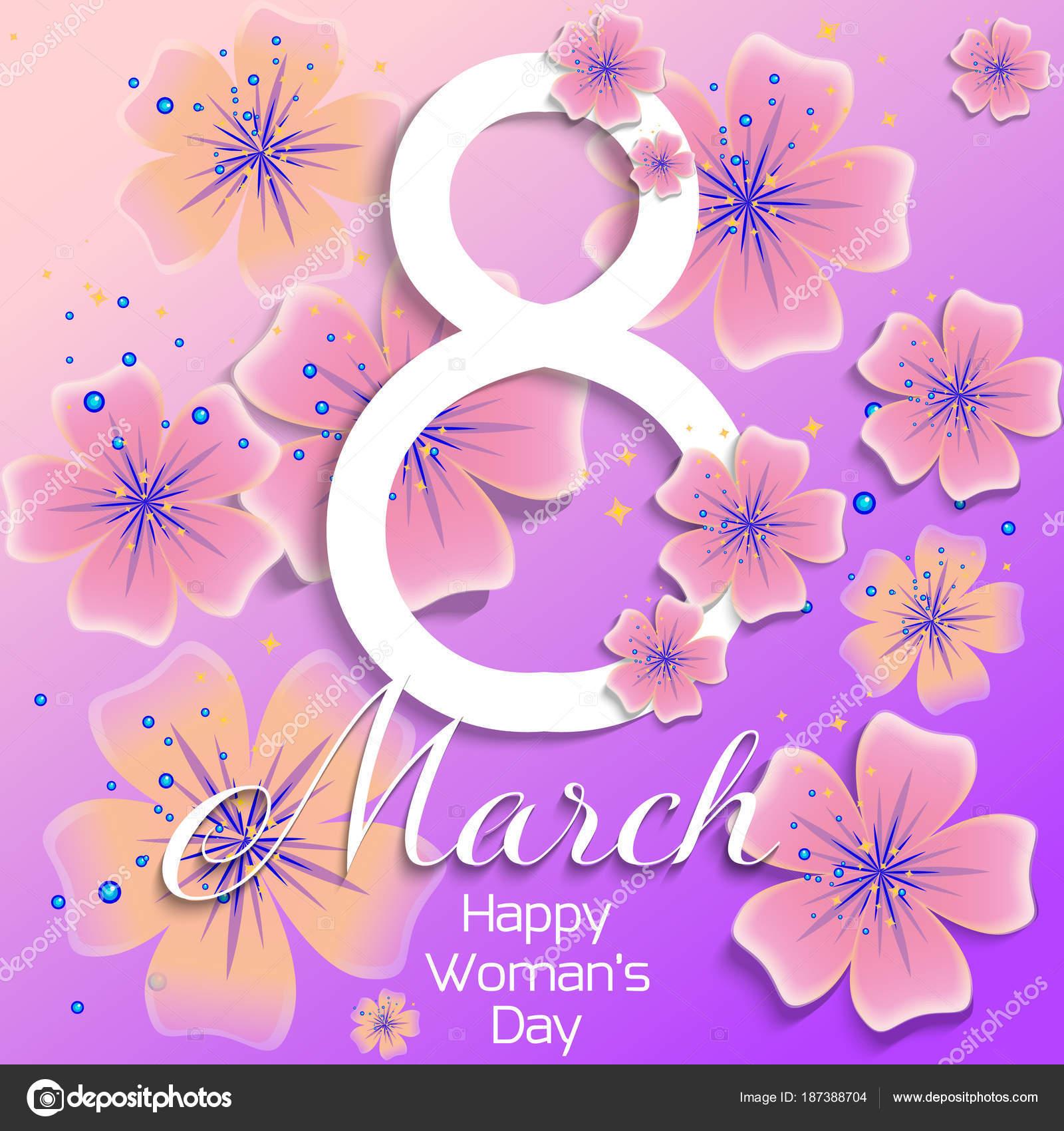 Künstlerisch Welche Blumen Blühen Im März Ideen Von März. Glücklich Womens Day Karte Mit Abstrakten