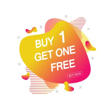 Buy 1 Get One Free sale tag. Banner design template for marketing. Special offer promotion or retail. Vector illustration