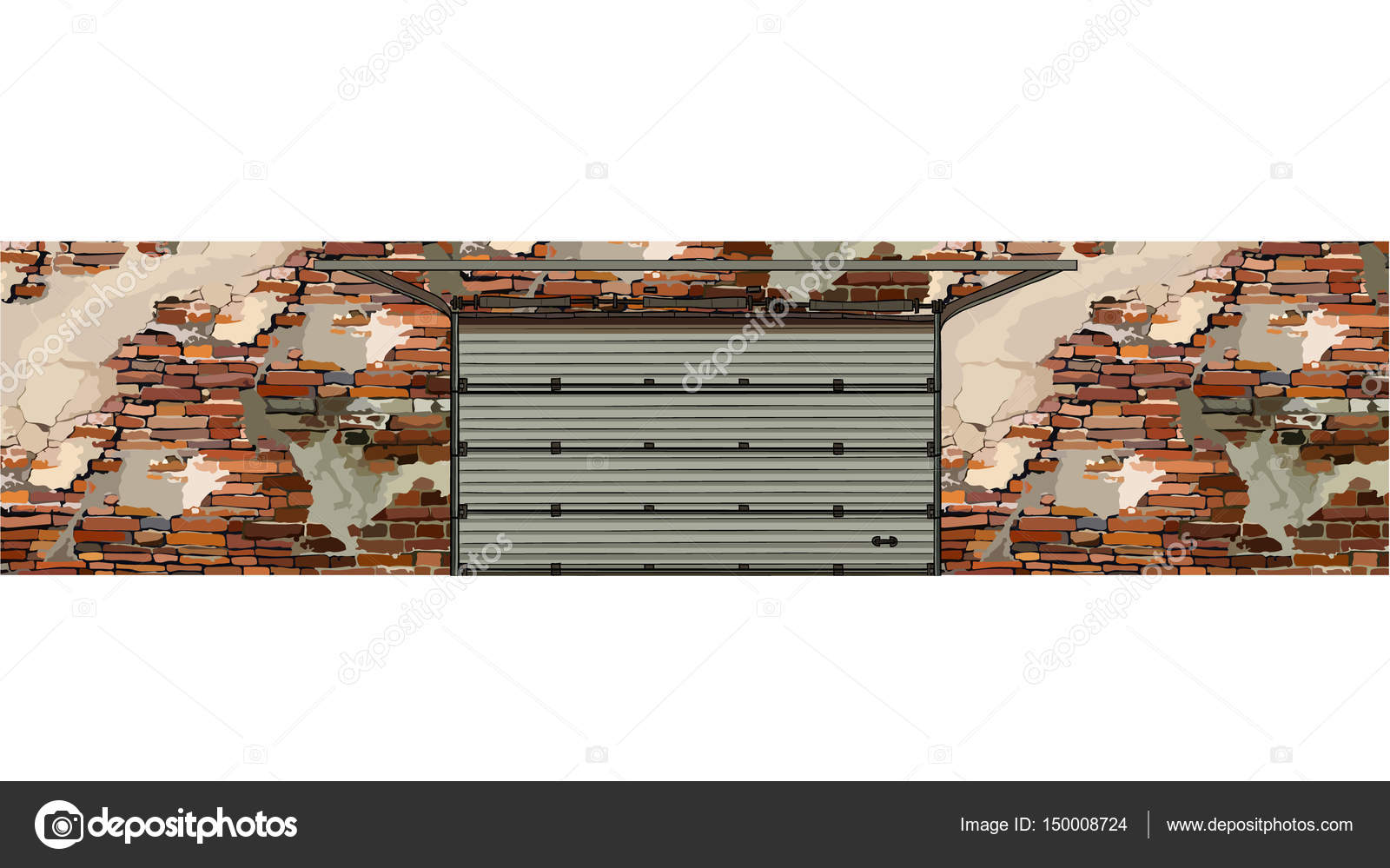 Garage Doors In The Background Of A Shabby Brick Walls Stock
