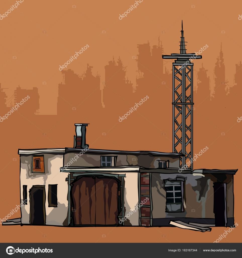 古い金属タワー 2 階建て建物を老朽化 \u2014 ストックベクター