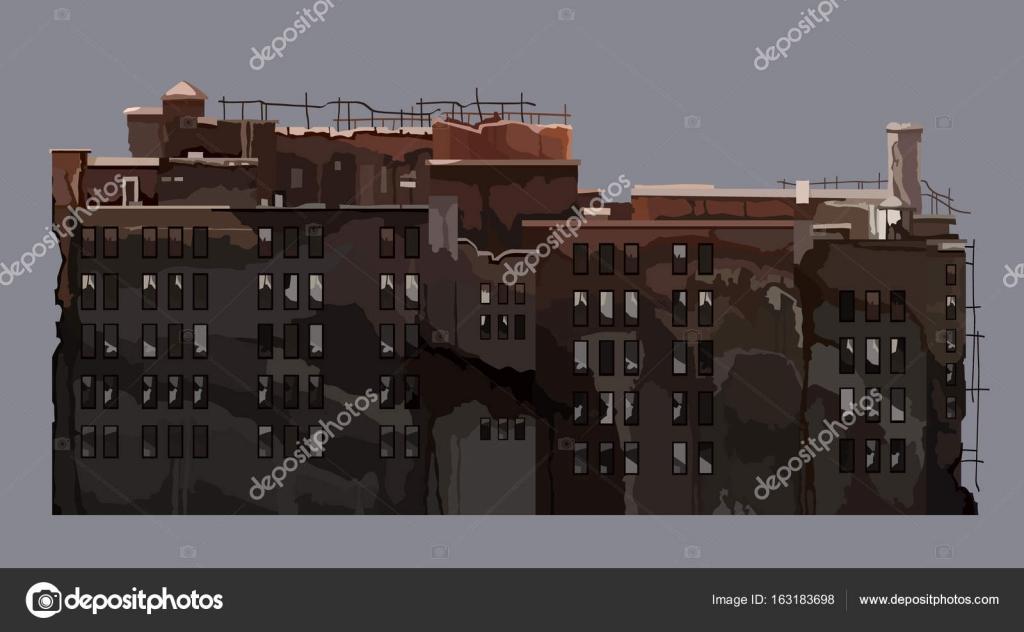 漫画古い老朽化した多階建ての建物 \u2014 ストックベクター