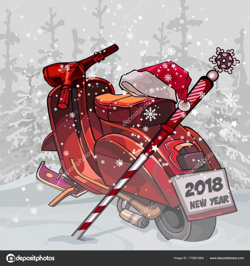 Frohe Weihnachten Motorrad.Cartoon Motorrad Weihnachten Weihnachtsmann Stehend Im Wald