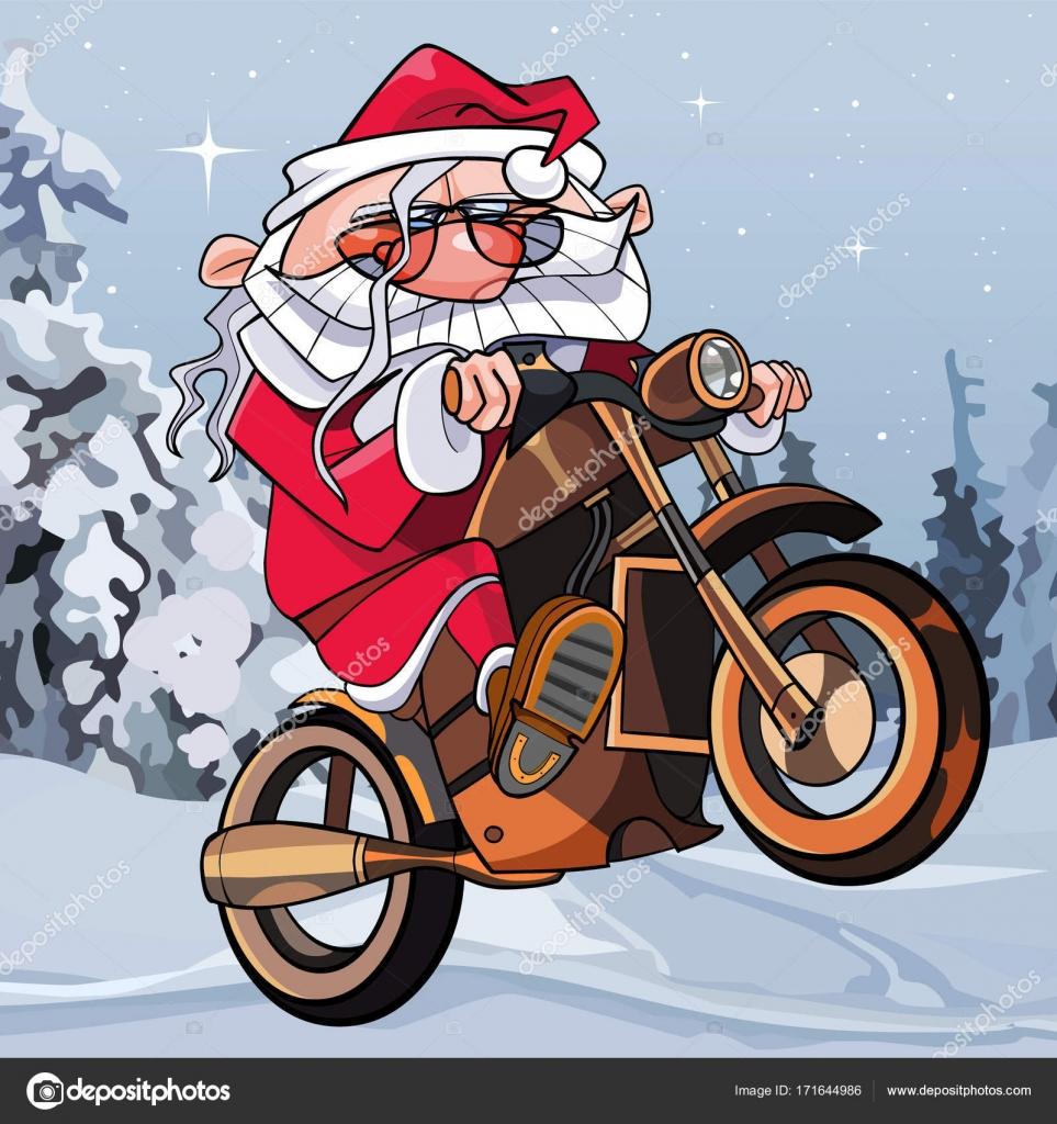 Frohe Weihnachten Motorrad.Cartoon Lustige Weihnachtsmann Auf Einem Motorrad Im Wald