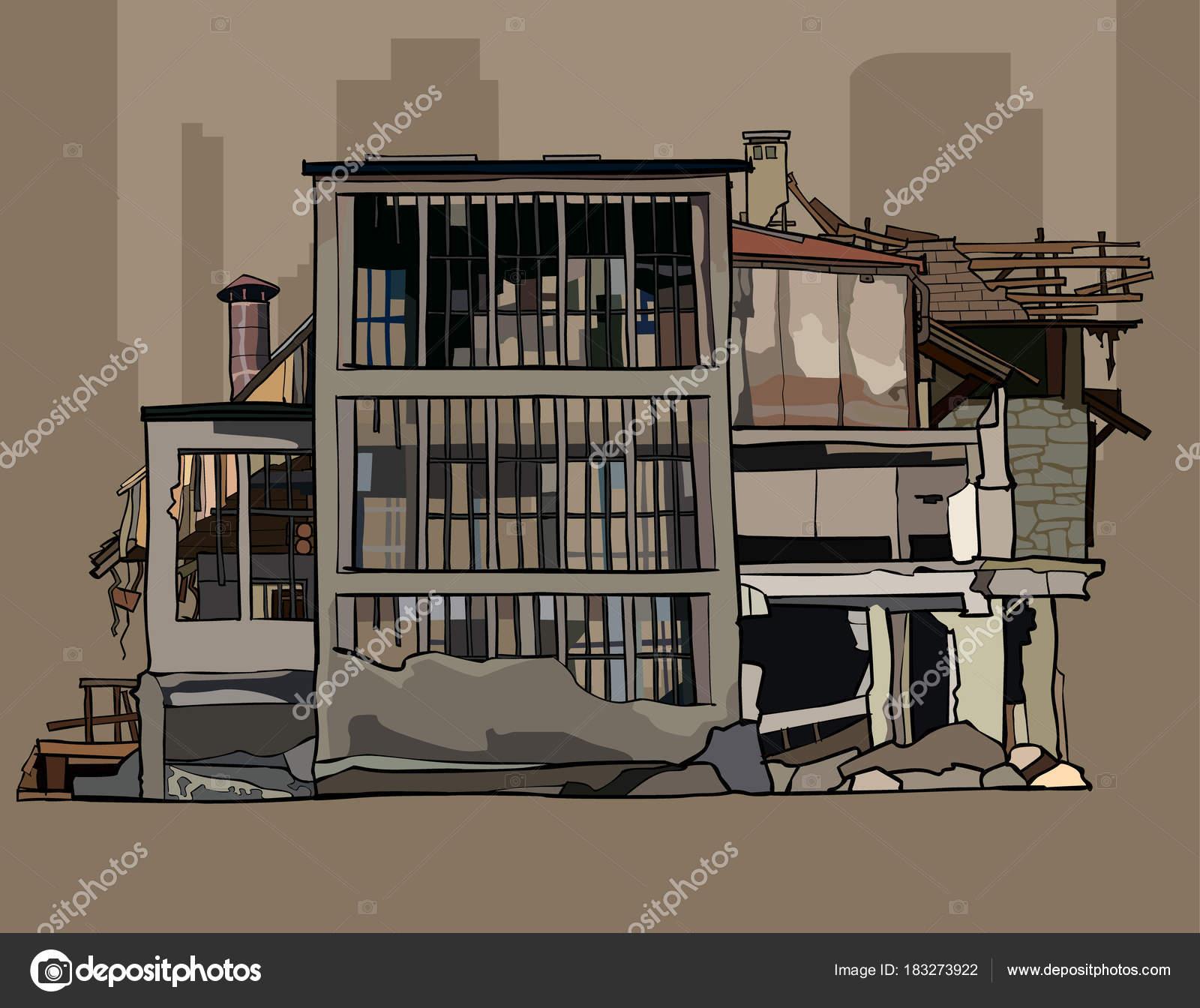 遺跡で老朽化した 3階建ての塗装 \u2014 ストックベクター
