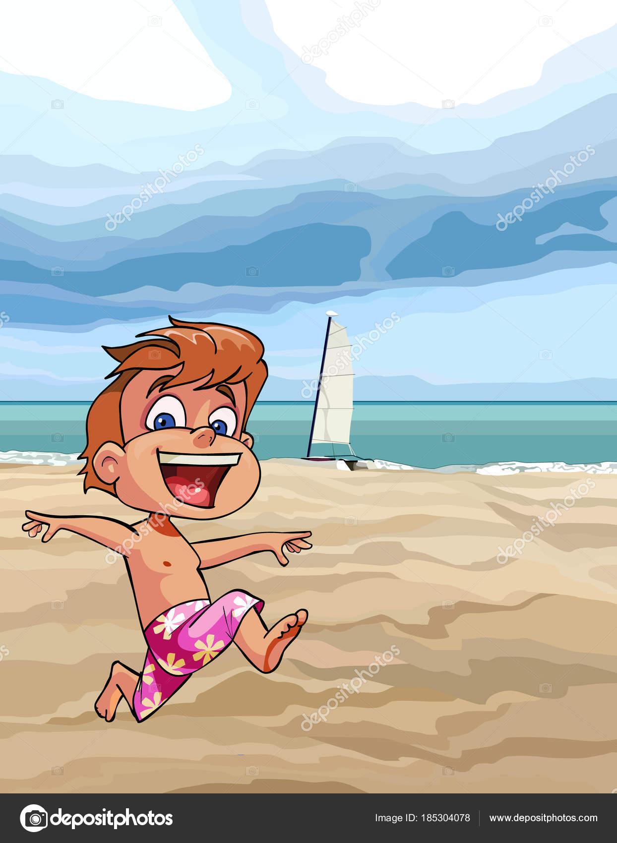 Cartoon joyful boy running along the beach stock vector cartoon joyful boy running along the sandy beach vector by westamult voltagebd Choice Image