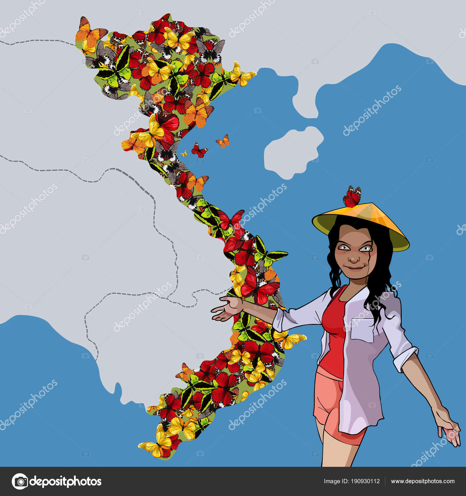 Cartoon woman shows on the map country Vietnam — Stock