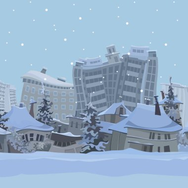 winter city background with cartoon curved houses