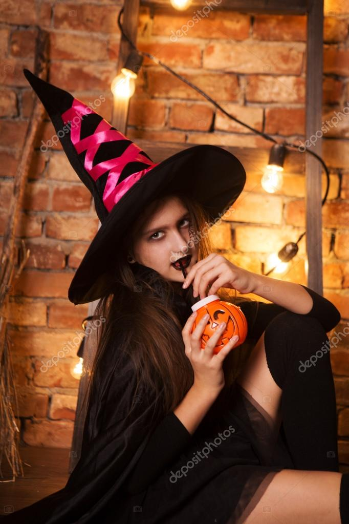 Funny child girl in witch costume for Halloween with pumpkin Jack u2014 Stock Photo  sc 1 st  Depositphotos & funny child girl in witch costume for Halloween with pumpkin Jack ...