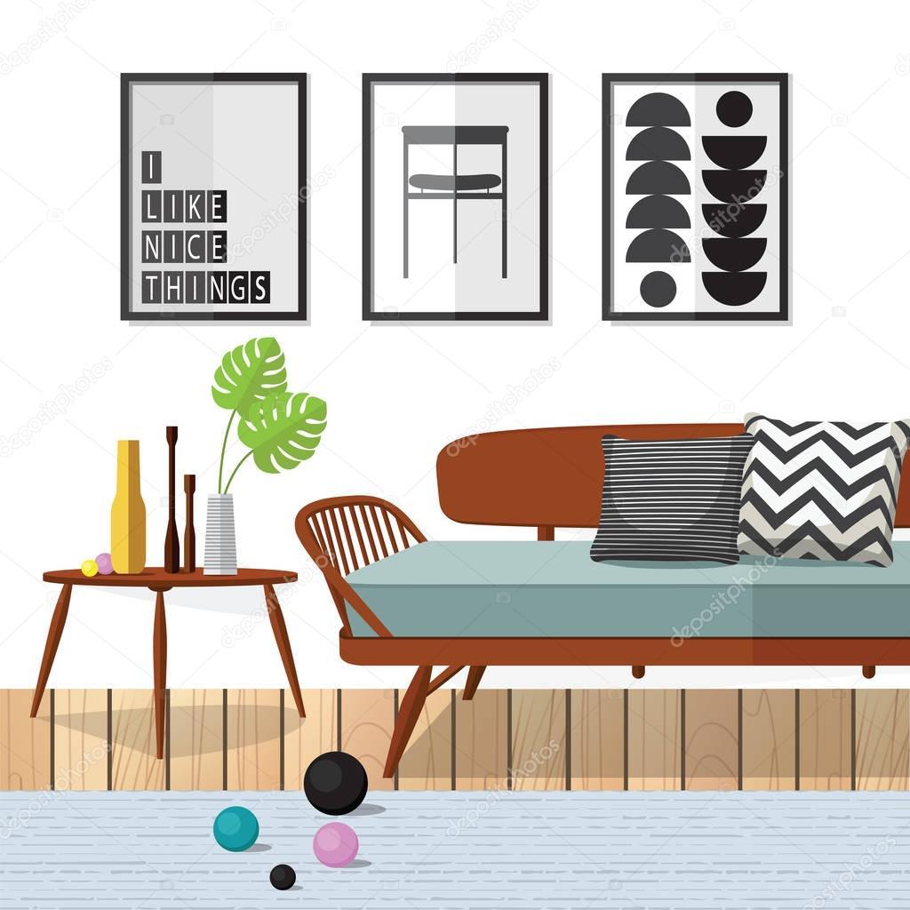 Woodle Wohnzimmermöbel — Stockvektor © puaypuayzaa #129758228