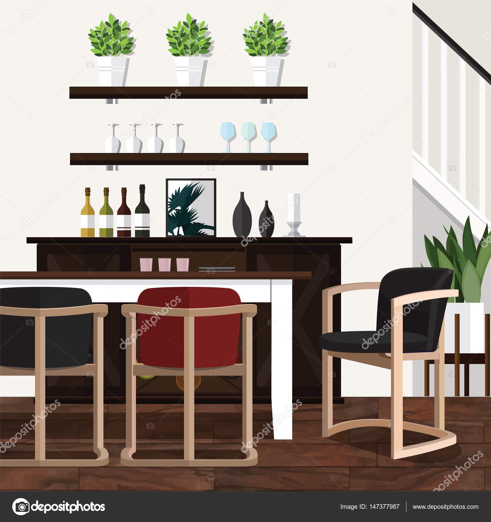 Esszimmer Deko-Ideen für Zuhause — Stockvektor © puaypuayzaa #147377987