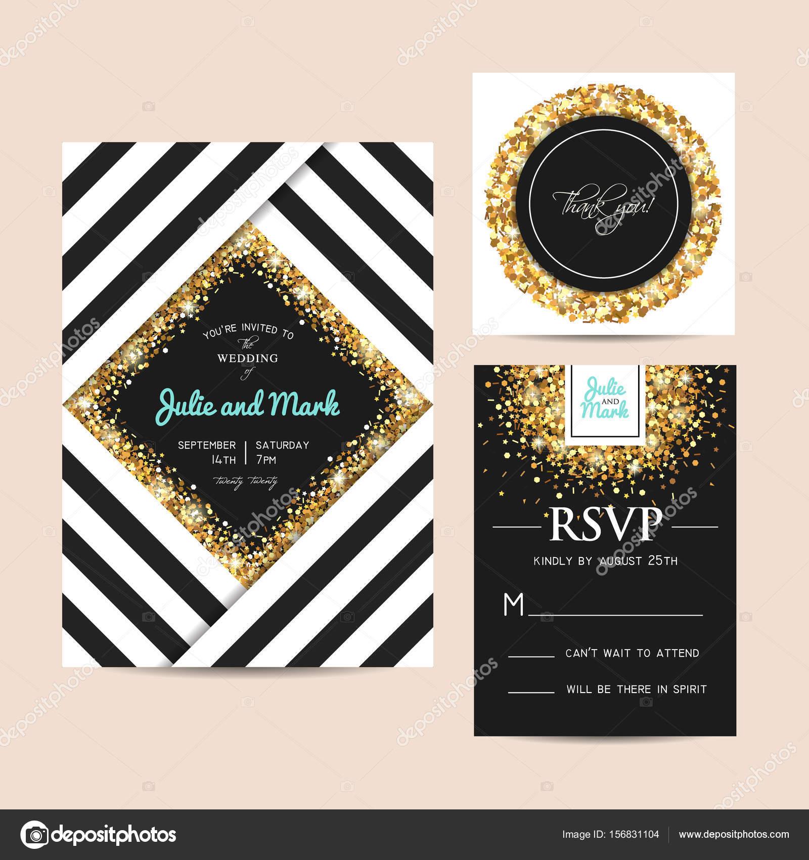 Stilvolle Hochzeit Einladungskarten Set Mit Goldenen Glitzer Verziert.  Goldene Funken Auf Einer Geometrischen Vorlage U2014 Vektor Von Tomiganka