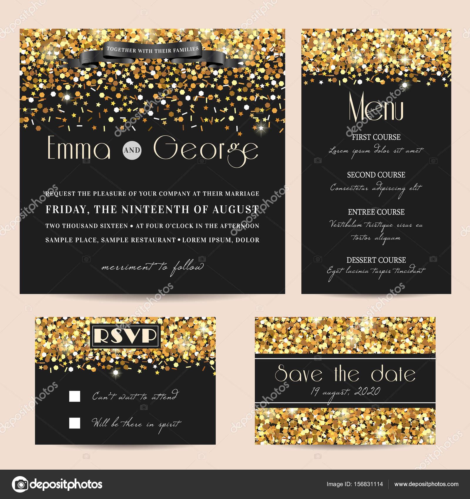 Stilvolle Hochzeit Einladungskarten Set Mit Goldenen Glitzer Verziert U2014  Vektor Von Tomiganka