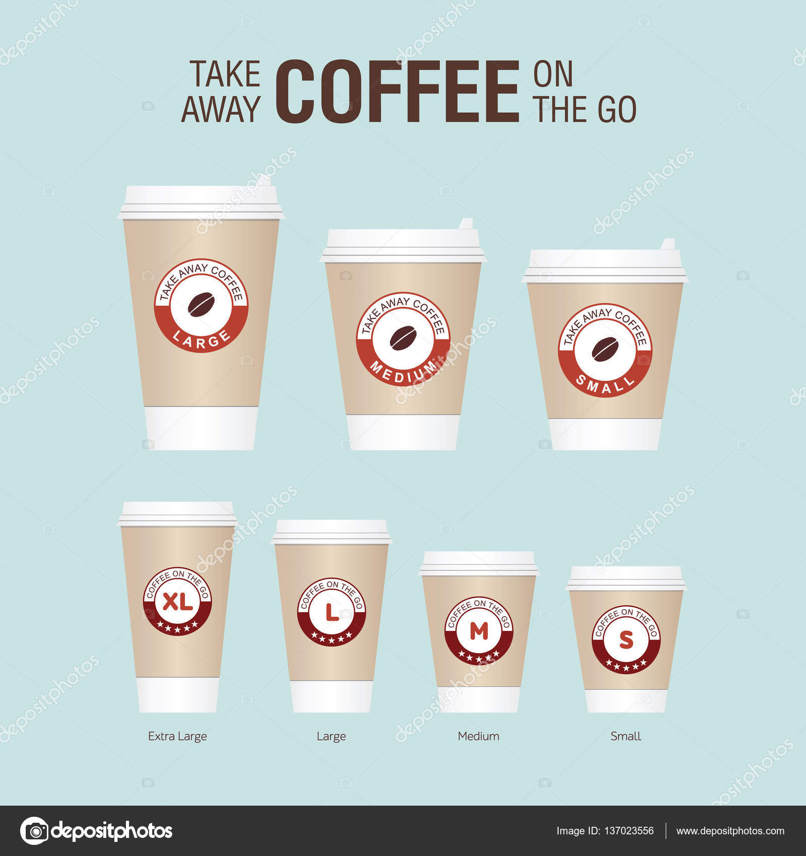 Coffee On The Go Cups Diffe Sizes Of Take Away Paper Cup