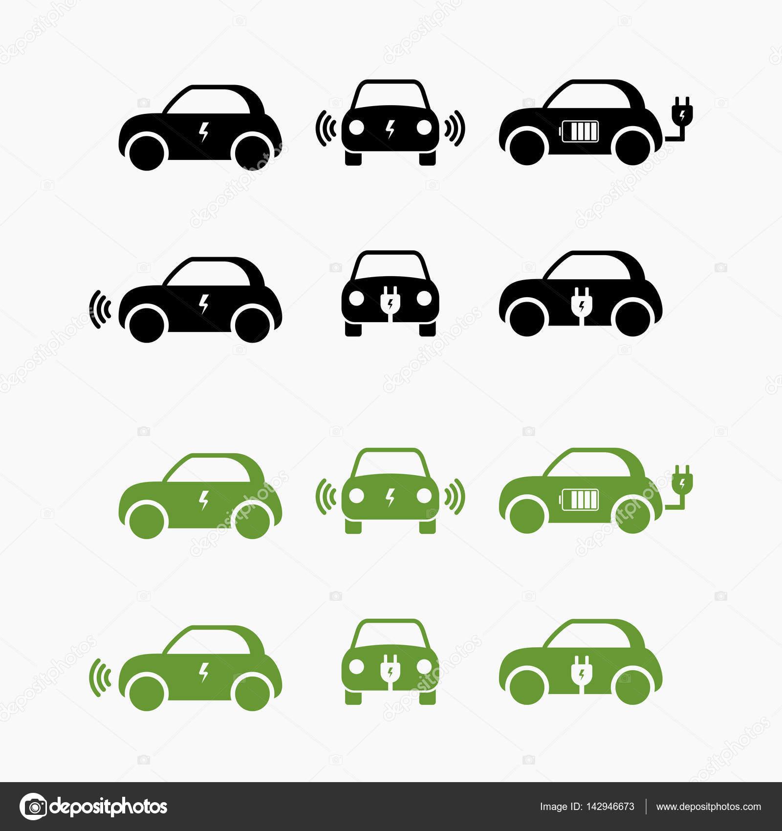 Elektro-Auto-Symbol. Vektor-Illustration. E-Autokennzeichen ...