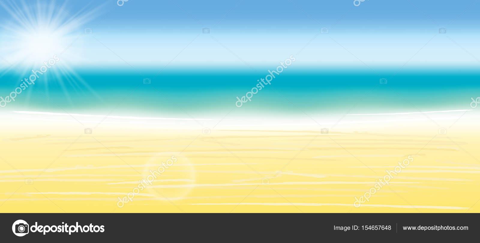 夏背景ベクトル イラスト。ぼやけている夏のビーチ、太陽、空、海、海と