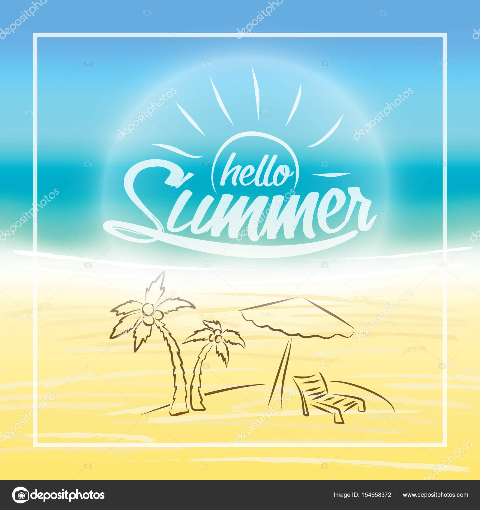 Summer Is Coming Text On Blurred Summer Beach Background. Hello Summer. U2014  Stock Vector