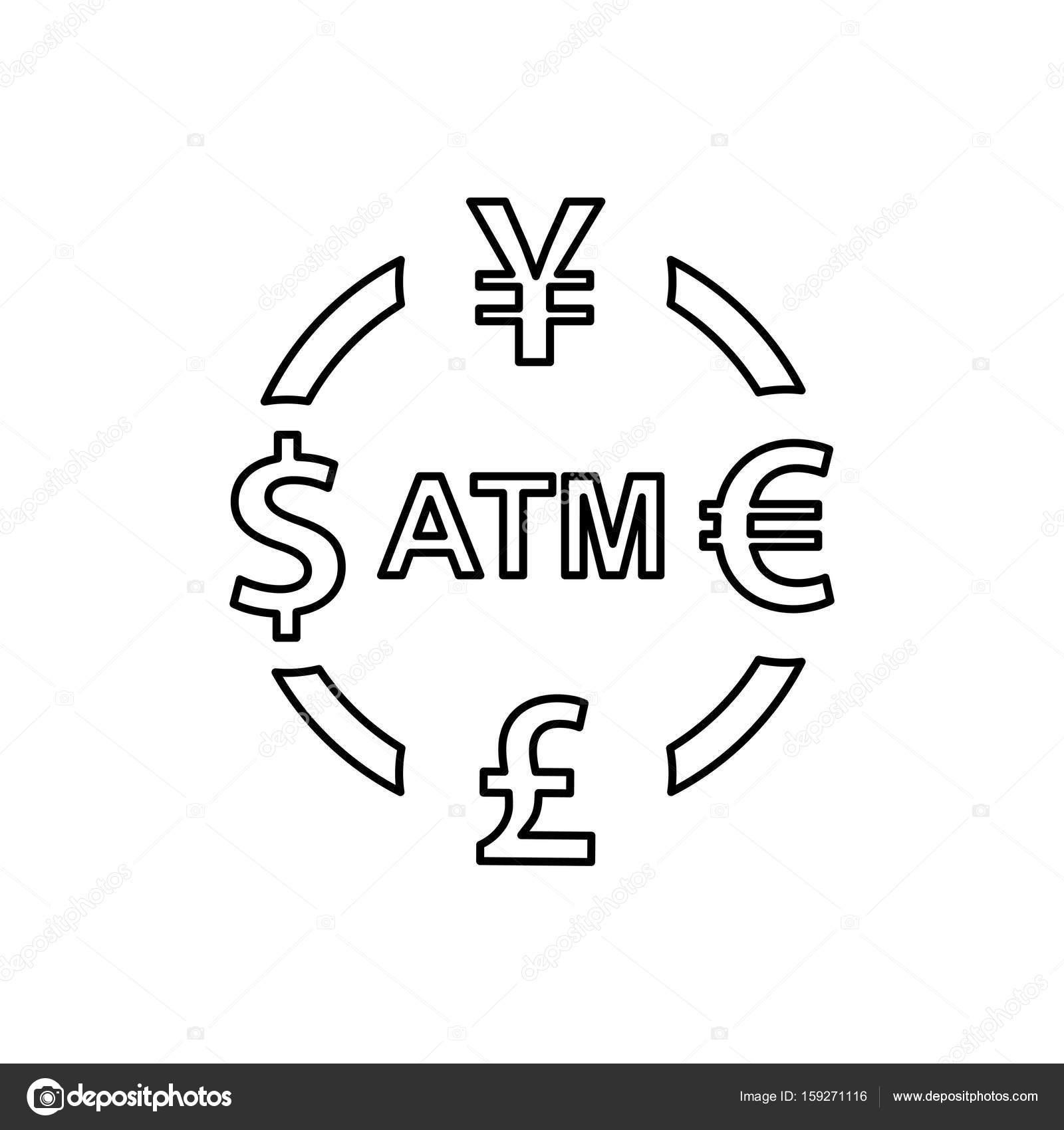 Icone De Change De Devises Signes D Atm Livre Euro Dollar