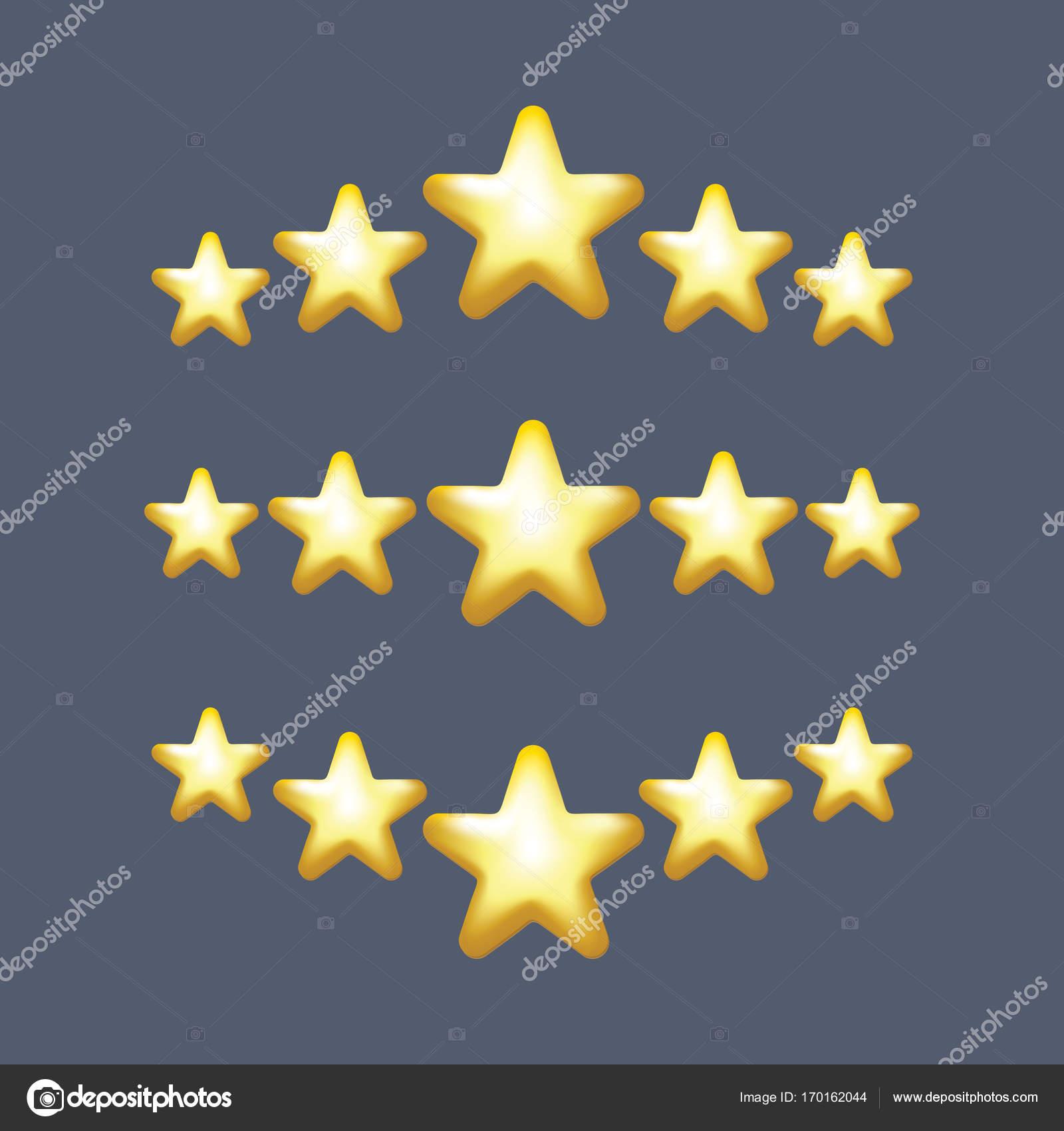 5 Star Vector Icon Rank Gold Favorite Web Symbol Stock Vector