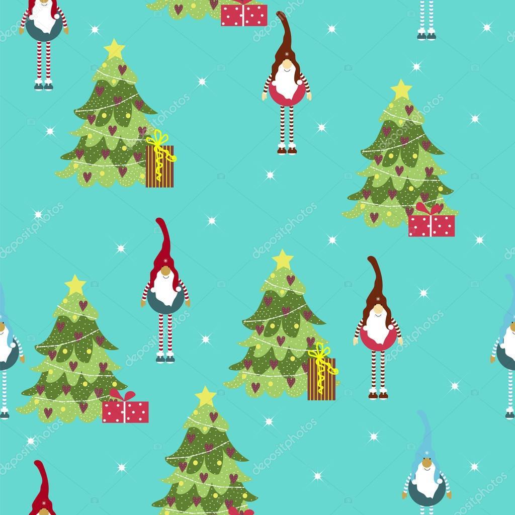 Nahtlose Muster Baum und GNOME. Cartoon. Einsetzbar für das Drucken ...