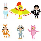 Photo Set of cute kids wearing animal costumes. A costume, cock, hare , cat, Fox, goat, pig. Vector illustration