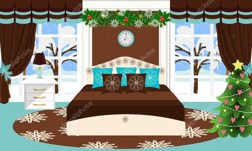 Schlafzimmer Innenraum Vektor Illustration. Cartoon. Zimmer In Blau Und  Braun Töne Schlafzimmer Dekoriert