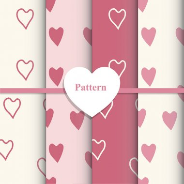 Template vector set of Valentine's day. Romantic designs Heart - vector illustration