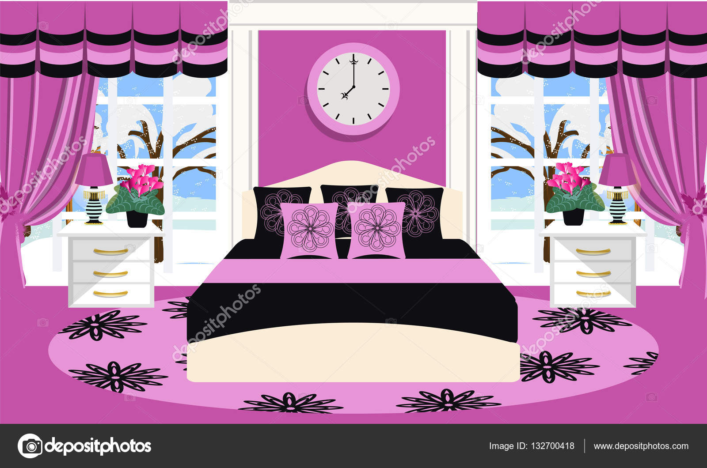 Slaapkamer interieur vectorillustratie. Kamer met meubels - bed ...