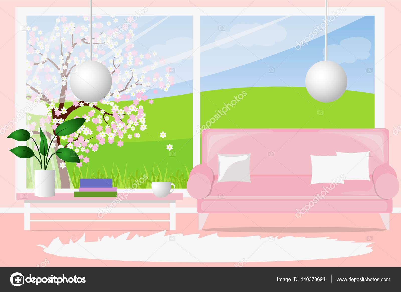 Living room with a large window, a light-flooded. Cartoon 2d games ...