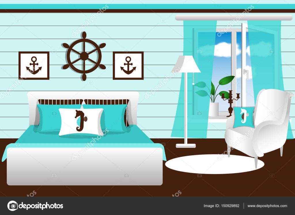 Het interieur van de slaapkamer. De kamer van Marine stijl, in blauw ...