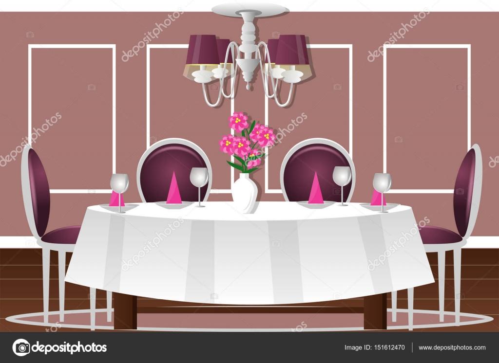 Interior De Un Comedor. Ilustración De Vector. Dibujos
