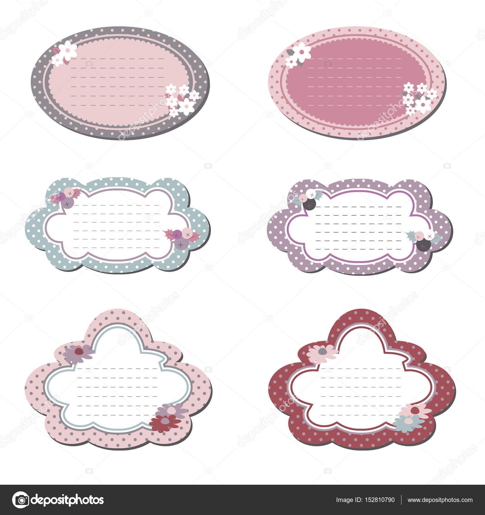 Elegantes marcos para cuadros, decorados en colores pastel. Conjunto ...