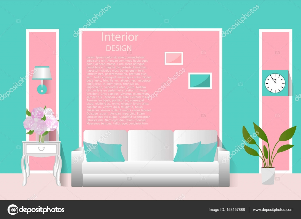 The interior of the living room. Vector illustration. Banner ...