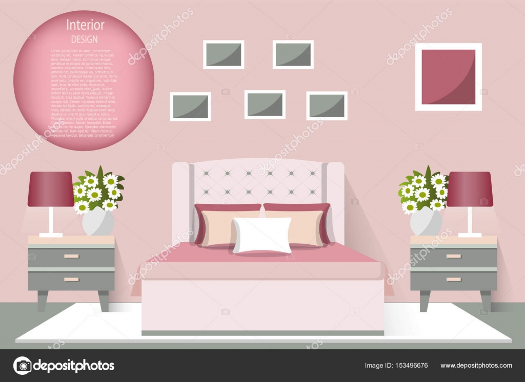 The Interior Of The Bedroom Vector Illustration Furniture For The