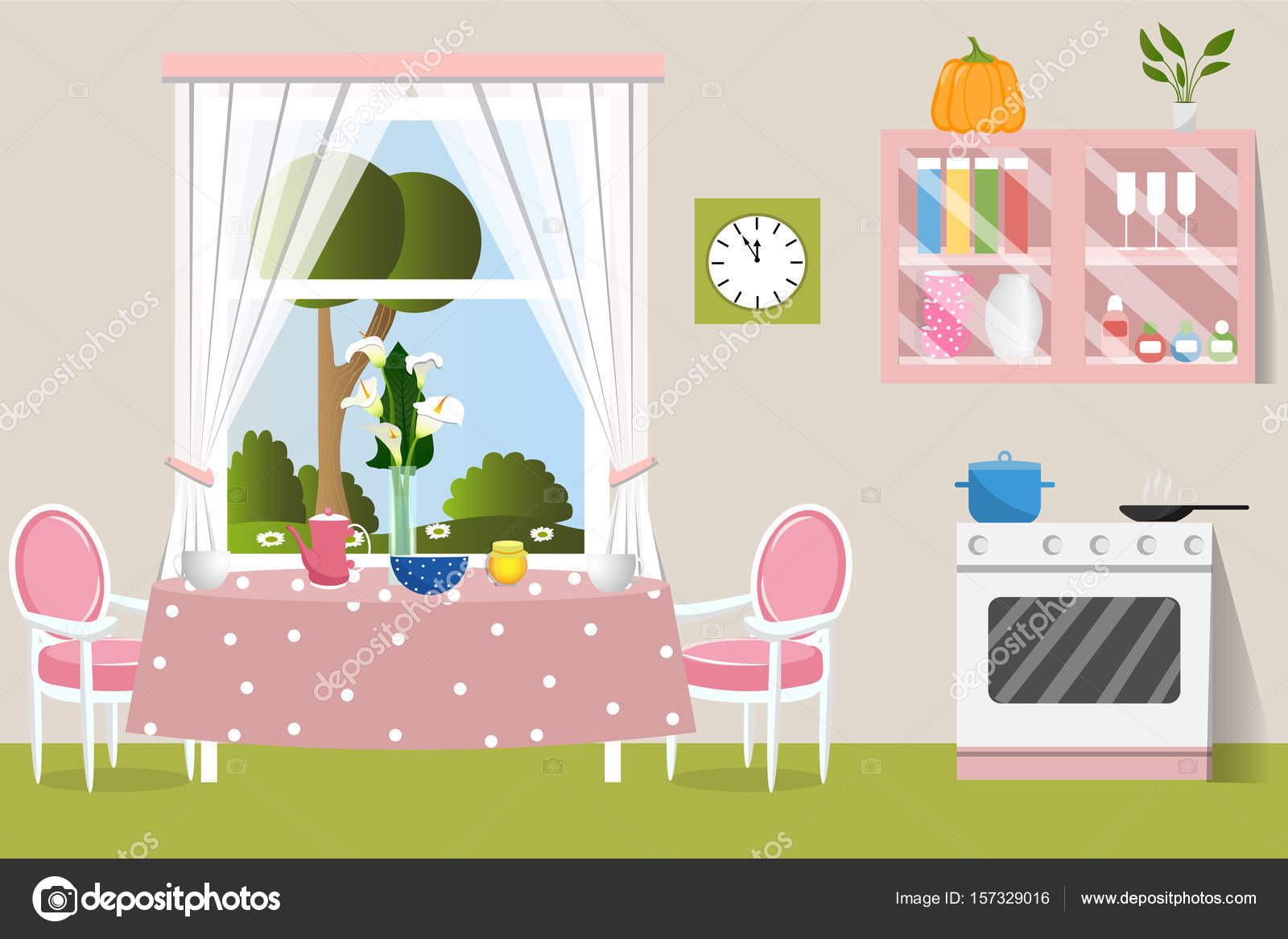 The Interior Dining Room Flat Design Cartoon Vector Illustration By Molnia26