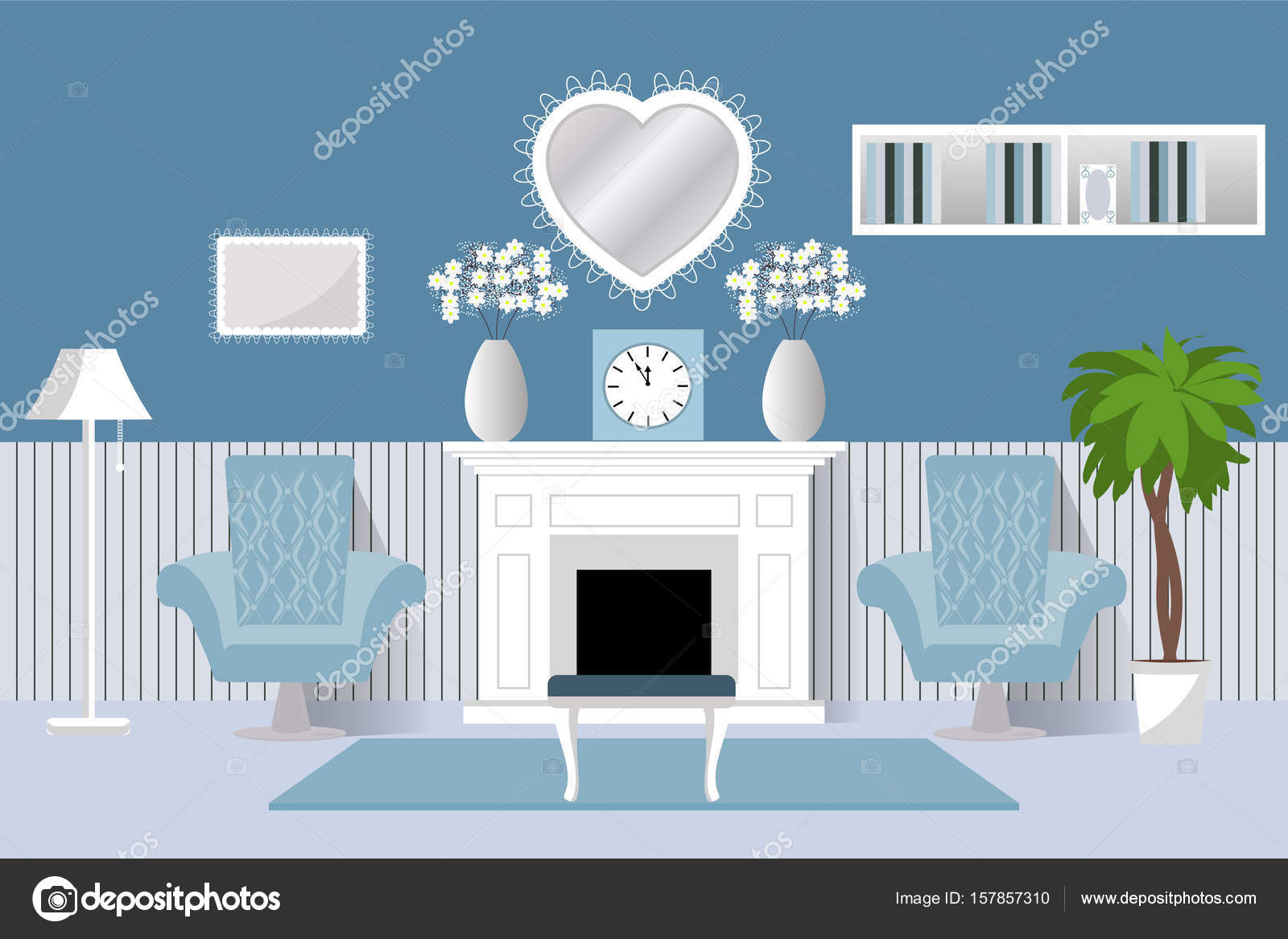 The Interior Of The Room. Vector. Living Room Design Living Room. Cartoon  Background