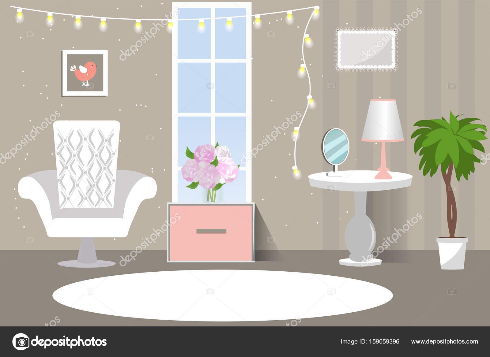 Het interieur van de woonkamer. Gezellige kamer in roze grijs ...