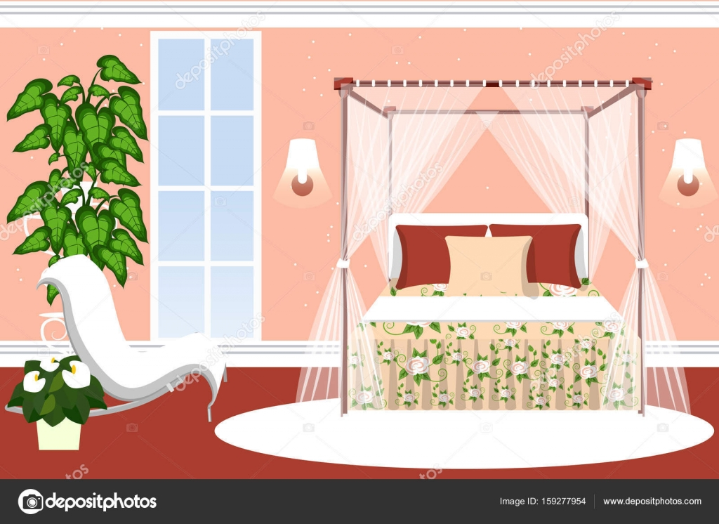 Decoración de dormitorio para niñas. Habitación de lujo con una cama ...