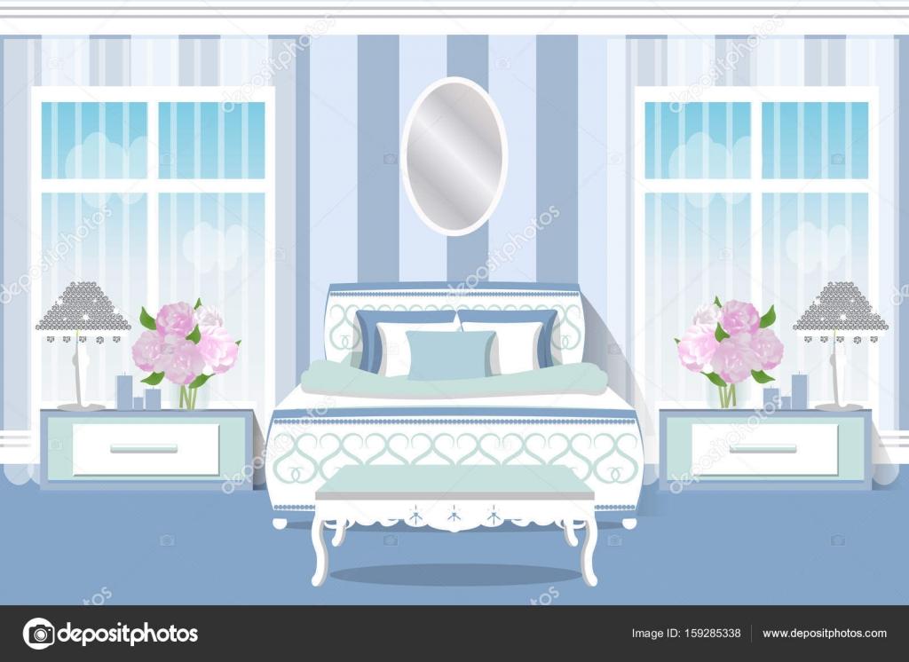 Het interieur van de slaapkamer. Mooie lichte kamer in pastelkleuren ...