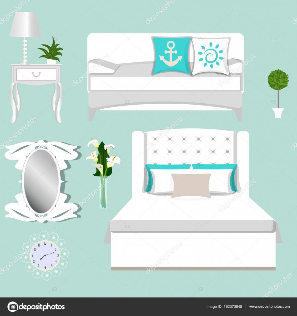 Eine Reihe Von Mobel Fur Das Schlafzimmer Bett Sofa Kissen