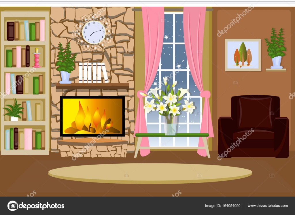 The Interior Of The Living Room Cozy Room With A Fireplace