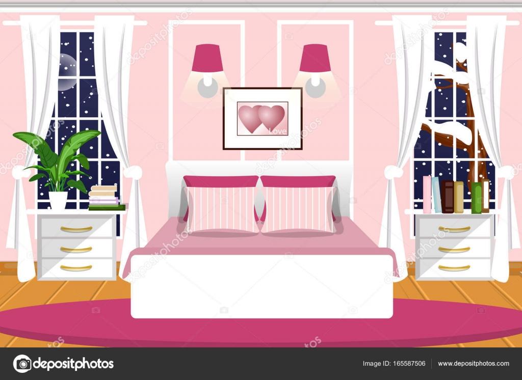 The Interior Of Bedroom Vector Cartoon Night Landscape Outside Window