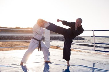 professional  karate fighters are fighting on the beach boxing ring