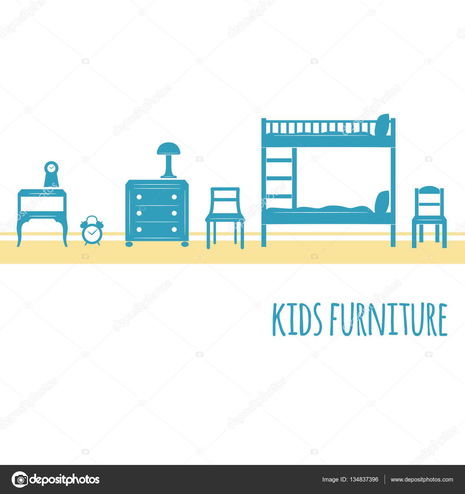 Muebles vector icono plano conjunto — Archivo Imágenes Vectoriales ...