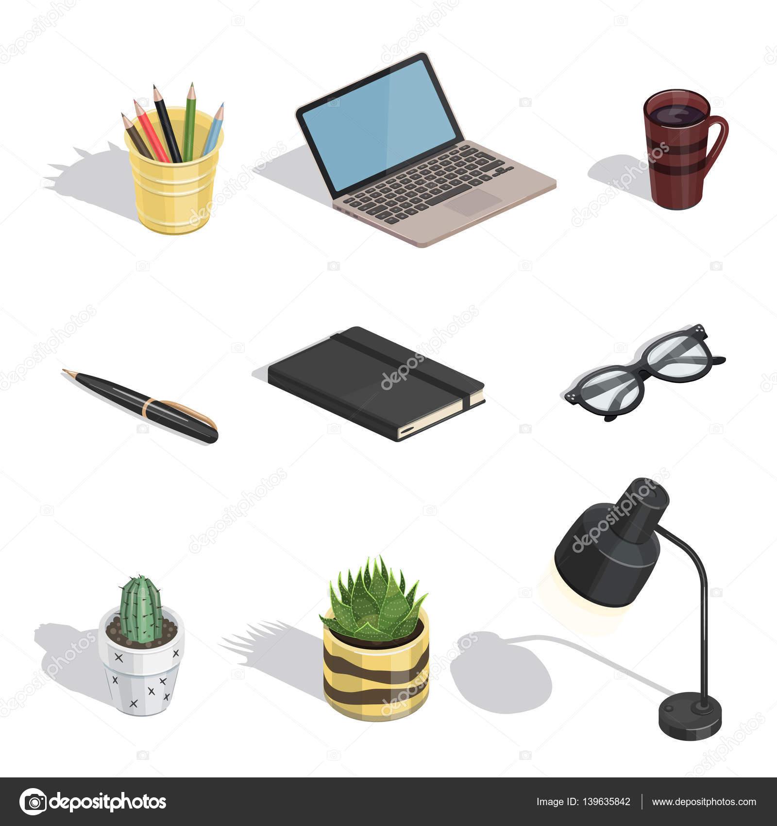 Komponenten des Arbeitsbereichs Vektor isometrische Symbole ...