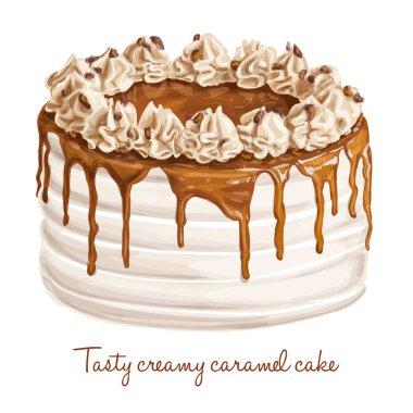Tasty creamy caramel cake