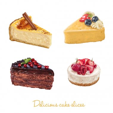 Hand drawn delicious cake slices set